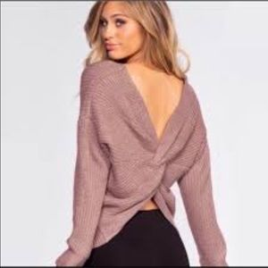 O&O twist back mauve sweater